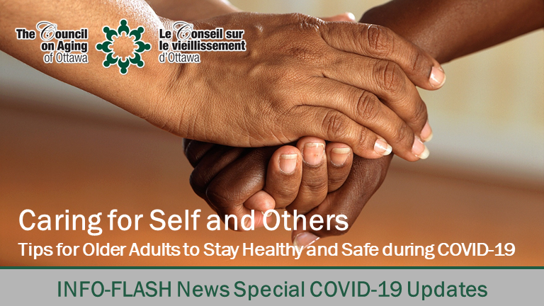 Caring for Self and Others - two older women - holding hands