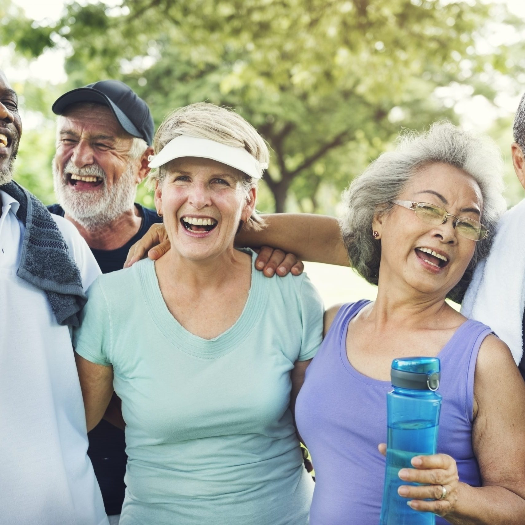 A group of happy elderly people in exercise attire